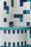 Blue and white shower tile Stock Images
