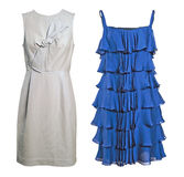 Blue and white silk dress Stock Images