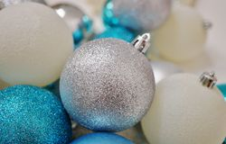 Blue, white and silver glittery Christmas holiday ornaments Stock Image