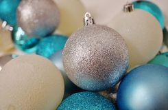 Blue, white and silver glittery Christmas holiday ornaments Stock Photo