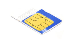 Blue and white sim card. Isolated on white Stock Images