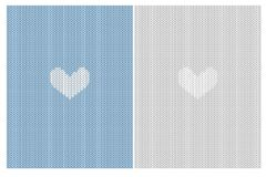 White Little Abstract Heart. Cute Knitted Fabric Style Vector Illustration. stock illustration