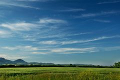 Blue-white sky. View of the White Carpathians in Slovakia stock images