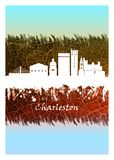 Charleston Skyline Blue and White. Blue and White skyline of Charleston, the South Carolina port city founded in 1670 vector illustration