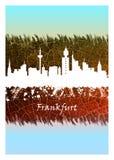 Frankfurt Skyline Blue and White stock illustration