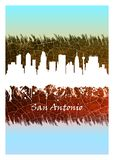 San Antonio skyline Blue and White. Blue and White skyline of San Antonio, a major city in south-central Texas with a rich colonial heritage vector illustration