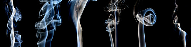 Blue and White smoke collection Royalty Free Stock Photos