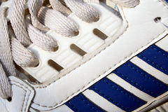 Blue and white sneaker closeup Royalty Free Stock Photos