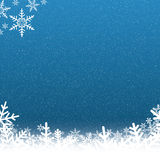 Blue and White Snowflake Background with Falling Snow Stock Photography