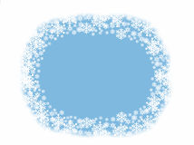 Blue and white snowflake circle border background with blank space Royalty Free Stock Photos