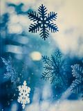 Blue and white snowflakes. Christmas and New Year snowfall with white and blue snowflakes stock photography