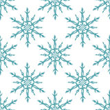 Blue and white snowflakes geometric christmas seamless pattern, vector Royalty Free Stock Images