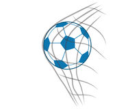 Blue and white soccer ball in the goal net eps10 Royalty Free Stock Image