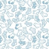 Blue on white socks seamless pattern Stock Photos