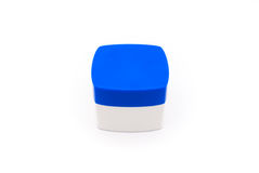 Blue and White Square Shaped Cosmetic Container Isolated.  Stock Photography