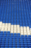 Blue and white stadium seats Stock Photos