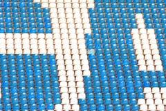 Blue and white stadium seats Royalty Free Stock Photos