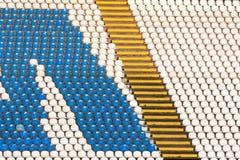 Blue and white stadium seats Stock Photography