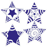 Blue and white star collection Stock Photo