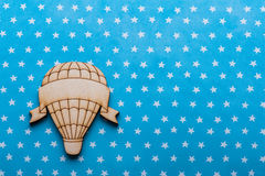 Blue white stars desk with hot air balloon Stock Photography