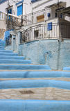 Blue and White steps to a Traditional white and blue Greek House Royalty Free Stock Images