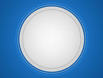 Blue and white stitched circle shape on leather Stock Image