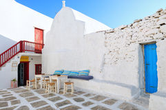 Blue and white streets of Mykonos island , cyclades Royalty Free Stock Images