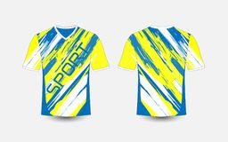 Blue and White stripe pattern sport football kits, jersey, t-shirt design template. Illustration vector stock illustration