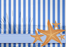 Blue white stripe pattern with starfishes Stock Photo