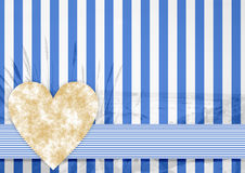 Blue white stripe pattern with a stone heart Stock Photography