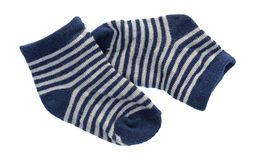 Blue and white striped baby socks Stock Images