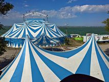 Circus tent. Blue and white striped circus tent of the Circus Americano Vargas Stock Image