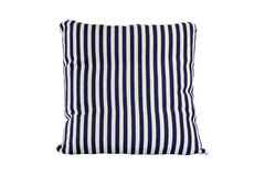 Blue and white striped pillow on white background Royalty Free Stock Image
