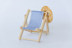 Blue white striped summer deck chair Royalty Free Stock Images