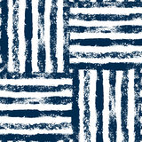Blue and white striped woven grunge seamless pattern, vector Royalty Free Stock Photos