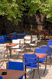 Blue and white sunny terrace. Empty terrace on a sunny day Royalty Free Stock Images