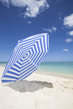 Blue and white sunshade vertical Stock Photo