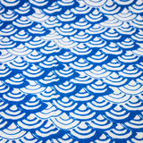 Blue and white tablecloth Stock Photo