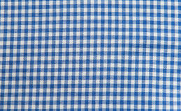 Blue and white tablecloth background , plaid fabric Stock Photography