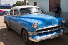 Blue and white taxi, vintage Chevrolet in Cuba Stock Image