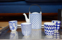 Blue-white tea or coffee set Royalty Free Stock Photos