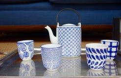 Blue-white tea or coffee set Royalty Free Stock Photos