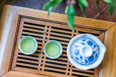 Blue and white tea sets and tea drinks stock photos