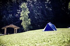 Blue and White Tent on Green Grass Field Near Green Tree stock image