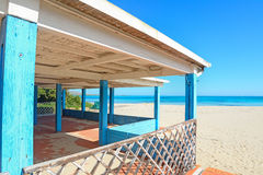 Blue and white terrace by the sea Royalty Free Stock Images
