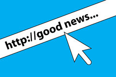 Good news graphics. Blue and white text graphics with good news in web URL and mouse pointer Stock Photo