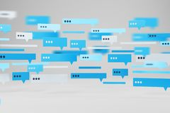 Blue and white text message templates on white stock photography