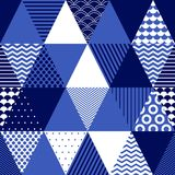 Blue and white textured triangles geometric abstract seamless pattern, vector. Background vector illustration