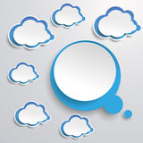 Blue White Thought Bubble With Clouds Royalty Free Stock Images