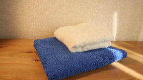 Blue and white towels stock video footage